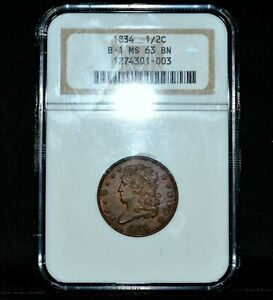 1834 CLASSIC HEAD HALF CENT ✪ PCGS MS-63-BN ✪ 1/2C B-1 UNCIRCULATED UNC◢TRUSTED◣