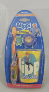 Children's Blippi Brush Buddies  3 Piece Toothbrush Cup and Cap NEW
