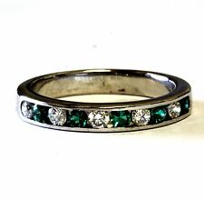 14k white gold .30ct SI1 H womens created green emerald diamond ring 3.6g estate