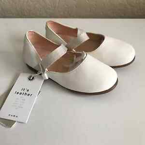 NEW Zara Baby Girl White Leather Flats 22 US 6T