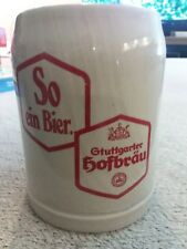 German Dark Gray Stoneware Gtuttgarter Hofbrau So ein Bier! .5 liter Beer Stein