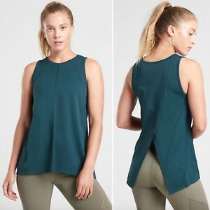 NWT Athleta Foothill Tank LARGE Lagoon Teal Seamless Tie Back Mesh Yoga Top