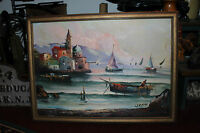 Stunning G Pastore Nautical Oil Painting On Canvas-Boats Fisherman Mountains
