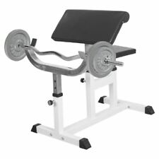 Gorilla Sports Preacher Curl Bench With Bar and 30kg Cast Iron Weights