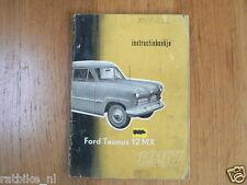 FORD TAUNUS 12 MX 1957 INSTRUCTIEBOEKJE OWNERS MANUAL,INSTRUCTION BOOK