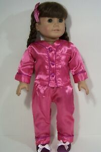 """4pc Generic Rebecca Satin Pajamas Doll Clothes Pjs For 18"""" American Girl (Debs*)"""