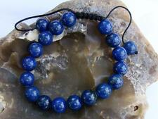 Natural Gemstone Men's Shamballa bracelet all 10mm Lapis Lazuli beads