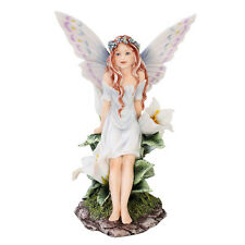 Lovely Spring Meadowland Girl Fairy Faery Fantasy Statue Figurine Floral Wreath