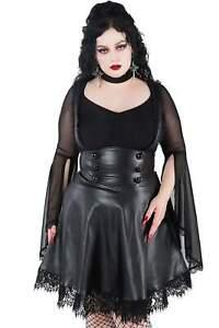 Killstar Gothic Goth High-Waist Kunstleder Minirock mit Trägern - Marked