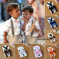 Kids Baby Suspender and Bow Tie Matching Set Boys Girls Adjustable Suspenders