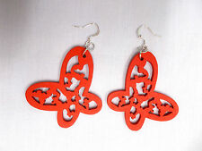 NEW RED CUT OUT OPEN WING BUTTERFLY SILHOUETTE WOODEN DANGLING INSECT EARRINGS