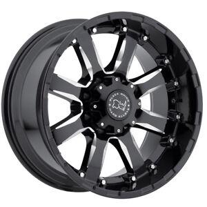 "18"" BLACK RHINO SIERRA BLACK MILLED WHEELS RIMS 18x9.0 5x139.7 0et"