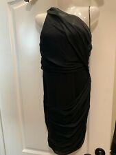 Alice+Olivia Wrap one Black shoulder silk goddess Dress Size XS