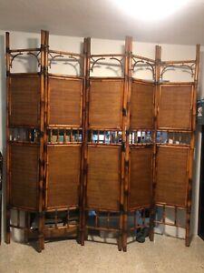Antique Vintage Rattan Bamboo Room Divider Tiki South Seas Asian