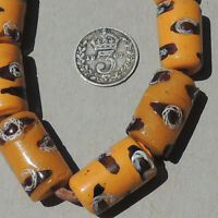 8 old antique venetian tubular fancy beads african trade #1775