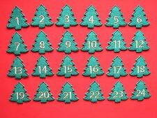 Adventskalender-Zahlen zum Aufbügeln: Zahlen 1 bis 24, Tannenbaum Filz grün/gold