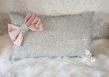 Bow cushion. Silver glitter. Blush pink smooth velvet.