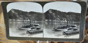 Antique Stereograph Card - St. Goarshausen across from Rhine, Germany c.1901