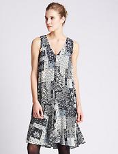 M&S Collection Floral Patchwork Skater Dress Black Mix Size UK12 Regular BNWT