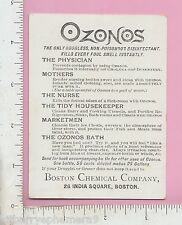 8407 Ozonos cholera medicine trade card nurser bottle cleaner Boston Chemical Co