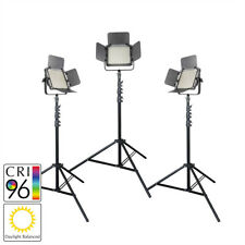 LED Panel Video Dimmable Lighting Three Head Kit with Stands Daylight 5500K