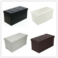 Storage Bench Ottoman Folding Foot Rest PVC leather Footstool​​ Rectangle ​