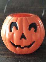 "Vintage Halloween Jack-o-Lantern Pumpkin Blow Mold Candy Pail 5 1/2"" JOL 🎃🎃🎃"