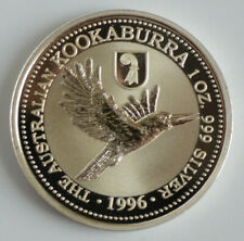 1996 Australia Kookaburra Basler Stab Privy Mark 1 oz .999 Box and Certificate