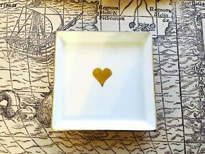 """White Golden Heart Ceramic Porcelain Plate, 4"""" x 4"""" Square"""