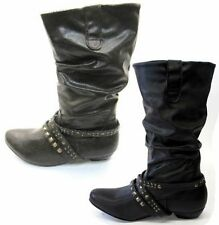 Women's 100% Leather Slip on Mid-Calf Boots
