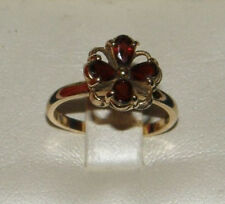 Solid 10K Yellow Gold ~ Genuine Red Garnet Floral Cluster Ring ~ Size 6 ~ w/BOX