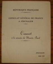 1938 Palestine Israel France French Consul Maurice Ravel Memorial Concert