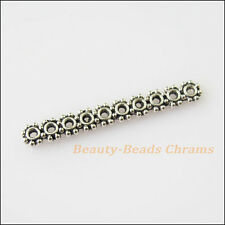 10Pcs Antiqued Silver Tone 10Holes Spacer Beads Bars Charms Connectors 4x31.5mm