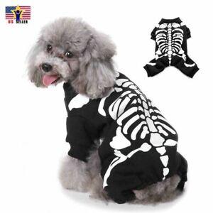 Pet Skeleton Costume Dog Cat Warm Puppy Apparel Halloween Skull Dress Up Cosplay