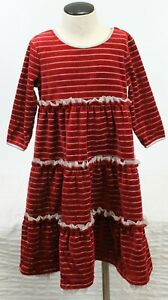 Hanna Andersson Tiered Dress Girls 110/5 Red Velvet Silver Stripes Holiday Ruffl