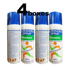 4 x 80ml Bottles of Salonpas Spray On Cooling Pain Relief Muscle,Back,Joints New