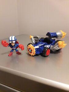 "Rare Captain America & Racer 2.5"" Figure Vehicle Micro Set Marvel Hero Mashers"