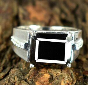 Emerald Cut 6.93 Ct. Black Diamond Solitaire Halo Men's Ring Free Shipping
