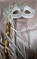 "HANDMADE ""ONE OF A KIND"" WHITE ORIGINAL MASQUERADE  MARDI GRAS WITH HANDLE"