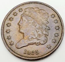 "1835 US Philadelphia Mint ""Classic Head"" Half Cent, Very Fine Condition"
