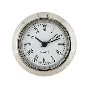 New Mini Quartz Clock Movement Insert, Roman Numerals 45 mm Ø Bezel Chrome