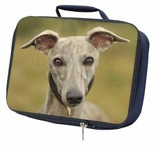 A Gorgeous Whippet Dog Navy Insulated School Lunch Box Bag, AD-WH92LBN