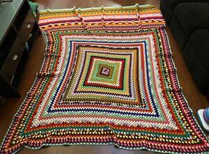 1970's Vintage Handmade Crotchet Afghan Blanket Huge 5' x 7' Granny