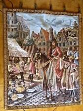 Vintage European Woven Tapestry Royal Visit of Medieval Bazar 36x52 Wall Textile