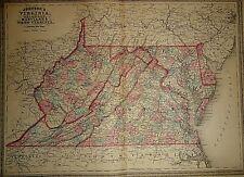1862 WV MAP Weirton Moorefield Weston Spencer Bluefield West Virginia History XL