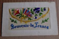 More details for ww1 silk postcard souvenir de france allied flags pansies