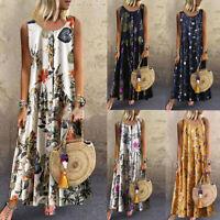 Womens Plus Size Bohemian O-Neck Floral Print Vintage Sleeveless Long Maxi Dress