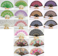Chinese Flower Silk Spanish Lace Folding Hand Fan Wedding Dancing Party Prom UK