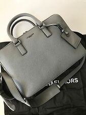Michael Kors Men's Bryant Steel Gray Pebbled Leather Medium Briefcase NWT