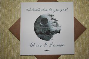 Handmade Personalised Star Wars 'til death star do you part' Wedding Card
